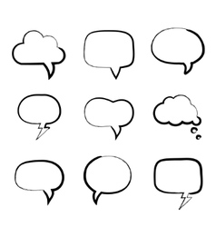 Grunge painted hand-drawn speech bubbles vector image vector image