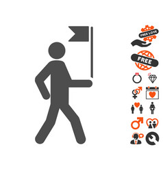 guide man with flag icon with lovely bonus vector image vector image