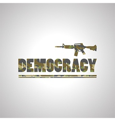 Soldier democracy green font on white background vector image