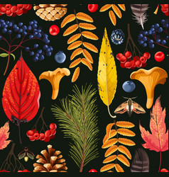 autumn pattern with leaves and berries vector image