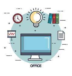 office laptop idea work business element vector image