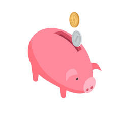 silver and gold coins falling into pink piggy bank vector image vector image