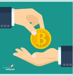 bitcoin transaction sign vector image