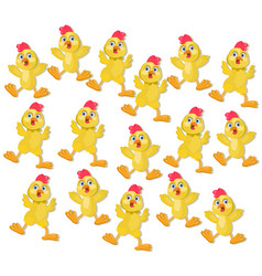 chicken funny cartoon pattern background vector image