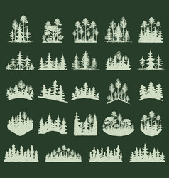 forest tree silhouette outdoor travel green vector image vector image