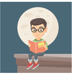 little boy reading a book on the roof of the house vector image