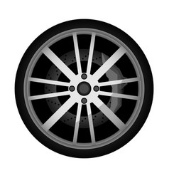side view modern car wheel icon vector image vector image