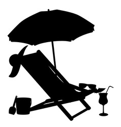 silhouette of beach chairs and umbrellas vector image vector image