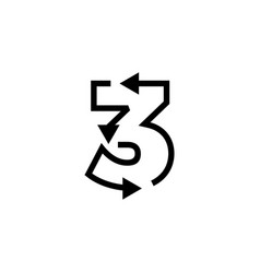 3 three number recycle logo icon vector