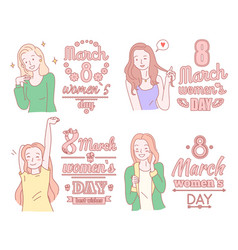 8 march happy women s day poster girlish concept vector