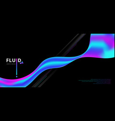 abstract fluid gradient shape flowing on black vector image