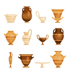 antique vases set traditional vintage ornate vector image