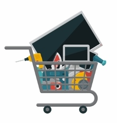 Appliances in a shopping cart vector