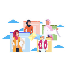 Arab women in hijab online communication letter vector