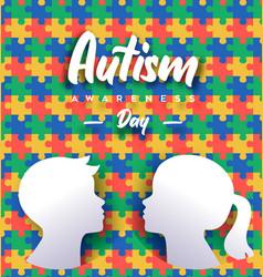 Autism awareness day papercut kid puzzle card vector