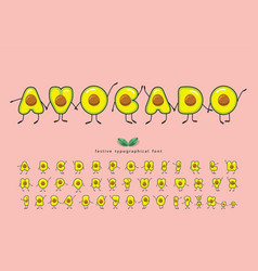 avocado summer font funny characters cartoon vector image