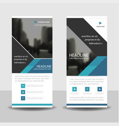 blue triangle roll up business brochure flyer vector image