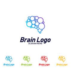 brain logo design mind concept logo template vector image