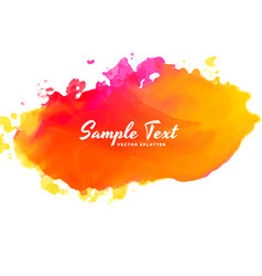Bright pink orange watercolor splash background vector