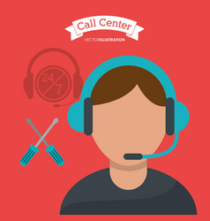 Call center man operator technical help vector
