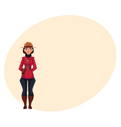 Canadian female policeman in traditional uniform vector