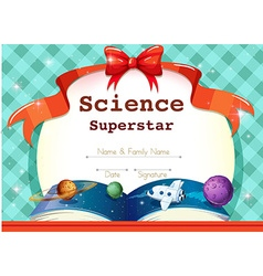 Certificate template with science theme vector image