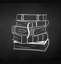 chalk drawn of stack of books vector image