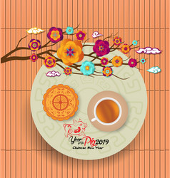 Chinese new year 2019 background with moon cake vector