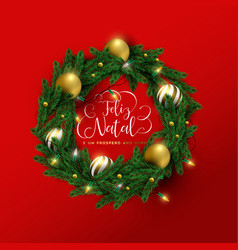 christmas new year portuguese red 3d wreath card vector image