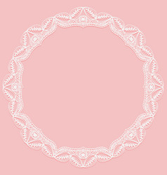 Circular frame with paper lace lacy white and vector
