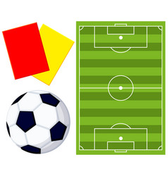 colorfull soccer ball field referee card icon set vector image