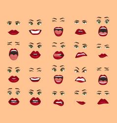Comic emotions women facial expressions gestures vector