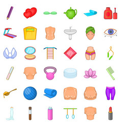 cosmetic for make up icons set cartoon style vector image