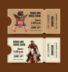 Cowboy ticket design with horse man rope vector