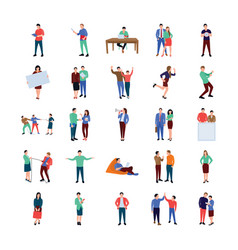 Coworking people flat icons pack vector