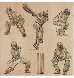 cricket sport collection cricketers an hand vector image vector image