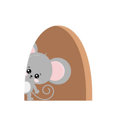 Cute mouse inside hole in home isolated vector