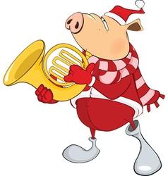 Cute Pig with Tuba Cartoon vector image