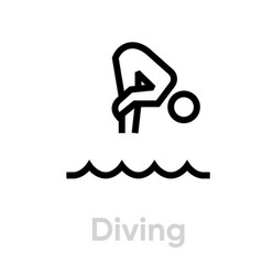 diving sport icons vector image