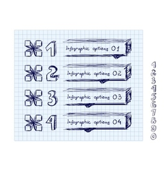 Doodle style number options banner vector