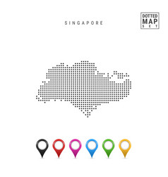 Dotted map singapore simple silhouette of vector