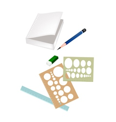 Drawing Equipment with A White Blank Notebook vector image