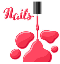 drops of nail polish and brush vector image