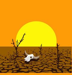 Dry trees and animal skull in dry desert land vector