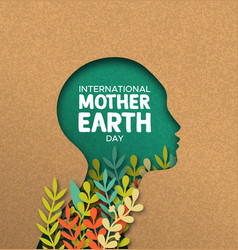 earth day card papercut woman head with leaves vector image