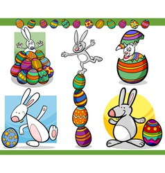 Easter themes set cartoon vector
