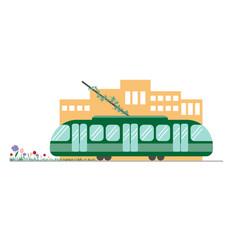 eco-friendly public transport tram green tram in vector image