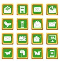 Email icons set green vector
