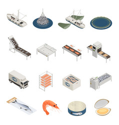 Fish industry icons collection vector
