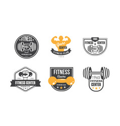 fitness center logo design set retro emblem vector image